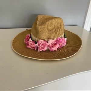 Straw/paper fedora/hat with removable flower decor